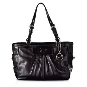 Coach Pleated Leather East/West Gallery Tote Black